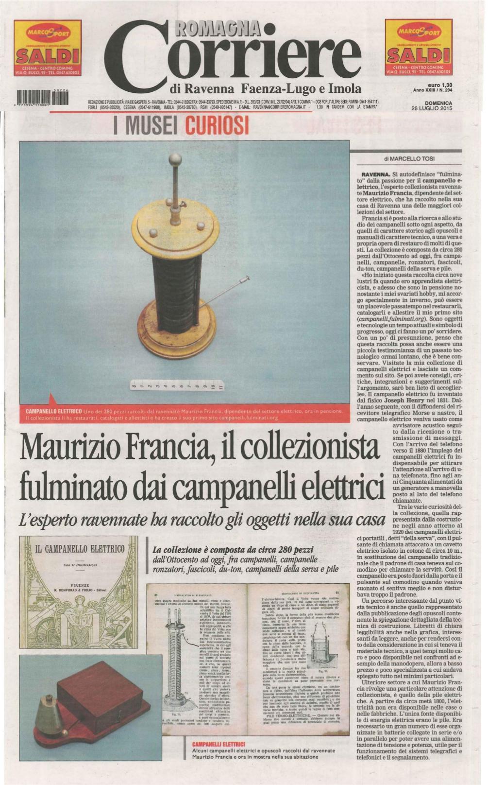 Marcello Tosi, giornalista per le pagine culturali del Corriere Romagna