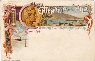 Cartolina centenario pila Volta