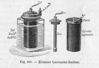 pila Leclanchè tipo Barbier 1878